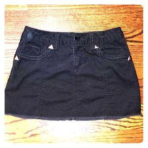 Girls black corduroy mini skirt